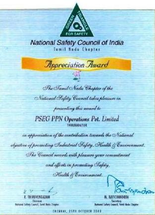 National Safety Council, Tamil Nadu Chapter's Appreciation Award for 2002