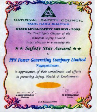 National Safety Council, Tamil Nadu Chapter's Star Safety Award for 2003