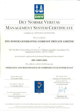 ISO 14001:2004 Environment Management System Certificate from M/s Det Norske Veritas