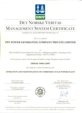 ISO 18001:2007 Occupational Health and Safety Management System Certificate from M/s Det Norske Veritas